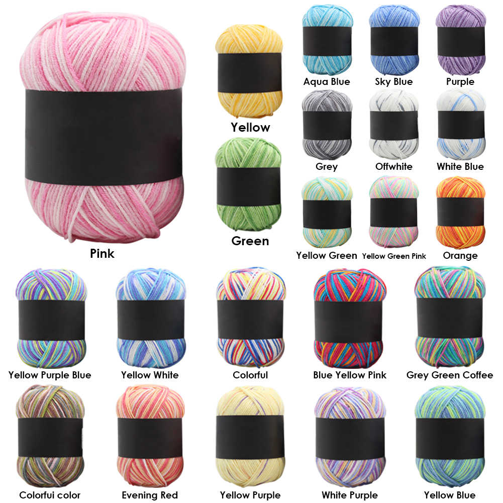 50g Soft Scarf Hat Crochet Knitting Yarn Gradient Color Baby Milk Cotton Yarn for Household Mother Kitting Accessories