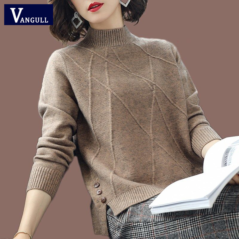 Vangull Half-Turtleneck Knitted Sweaters Women Long Sleeve Thick Soft Sweater Pullovers 2019 Winter New Solid Bottoming-shirt