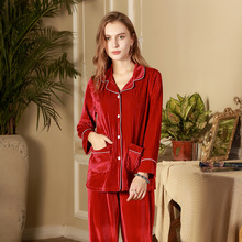 Comfortable Coat And Pants Two Piece Sleepwear Sets Soft Elastic Pajama Spring Autumn Homewear Nightgown For Women Female