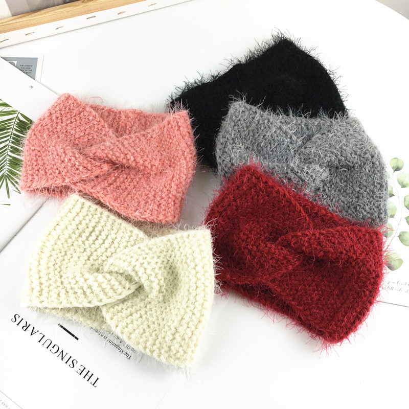 Baby Headband Wool Knitted Headbands For Women Girl Winter Headwrap Children Turban Toddler Ear Warmer Hair Accessories Hairband