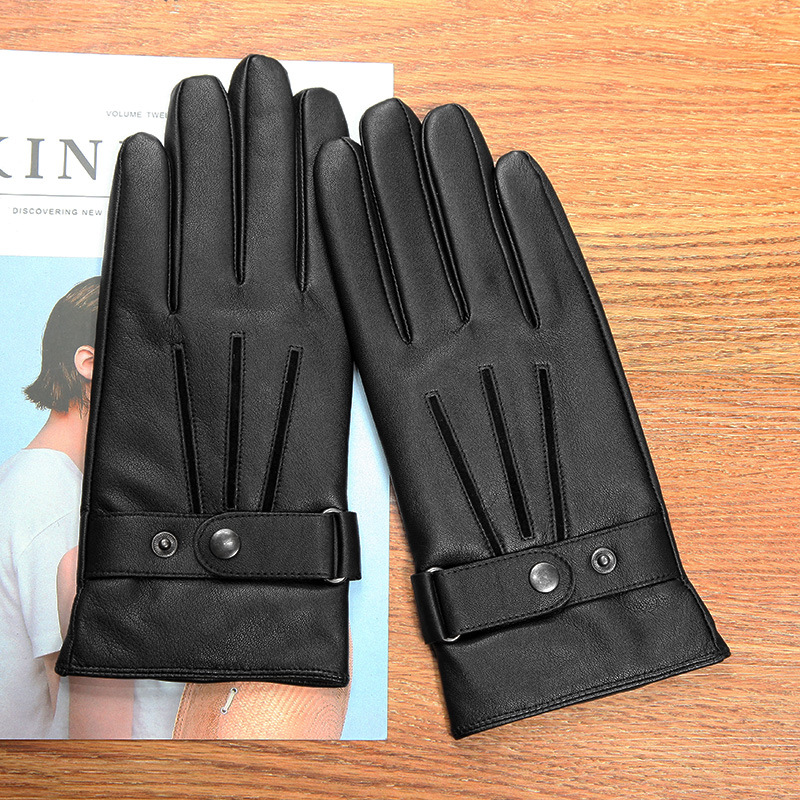 Real Leather Man Gloves Winter Thicken Plus Velvet Keep Warm Driving Motorcycle Black Fashion Simple Sheepskin Gloves Male M0135