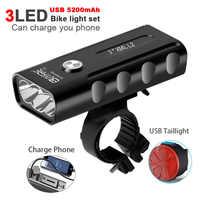 Bicycle Light Set L2 LED Bike Lights 5200mAh USB Rechargeable Headlight Waterproof MTB Cycling Front Lamp as Power Bank
