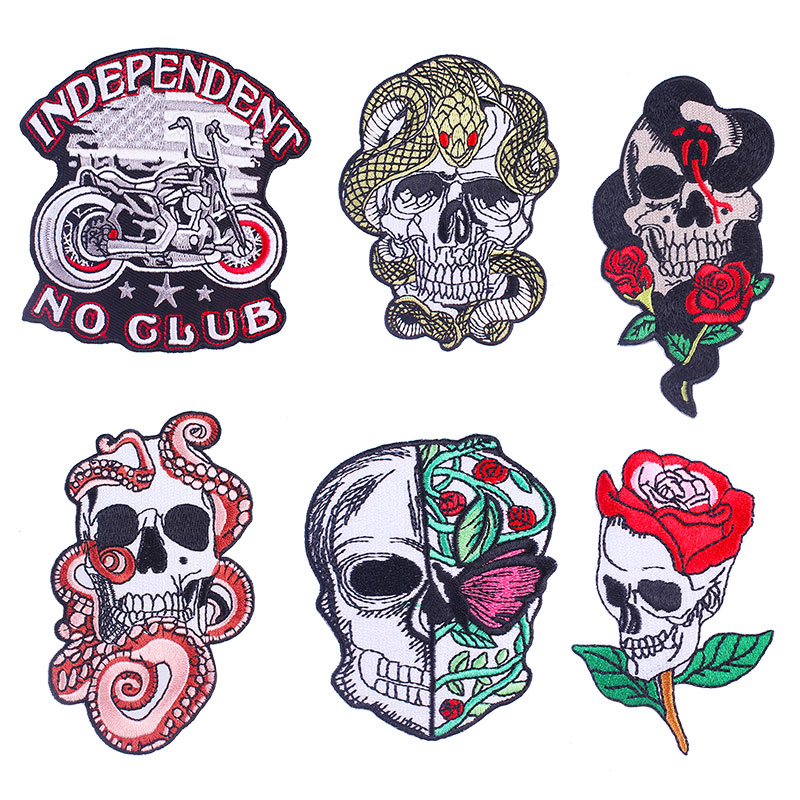 Skull Motorcycle Iron Embroidered Patches For Clothing DIY Butterfly And Flowers Skull Apparel Sewing Germent Stripes On Jacket