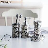 4Pcs Direto estilo Europeu conjunto de cerâmica de prata banhado a decoração suprimentos decoração de armazenamento copo de lavagem do banheiro de lavagem definido criativo