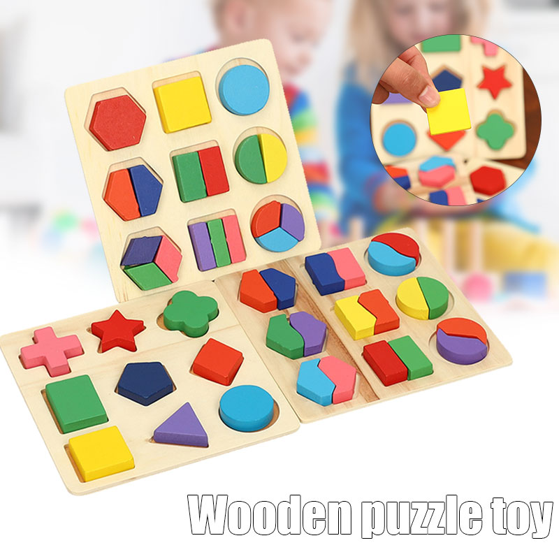 Wooden Preschool Colorful Shape Puzzle for Toddlers Baby First Jigsaw Puzzle Toys Shape Colour Sorting Matching Peg Puzz NSV775