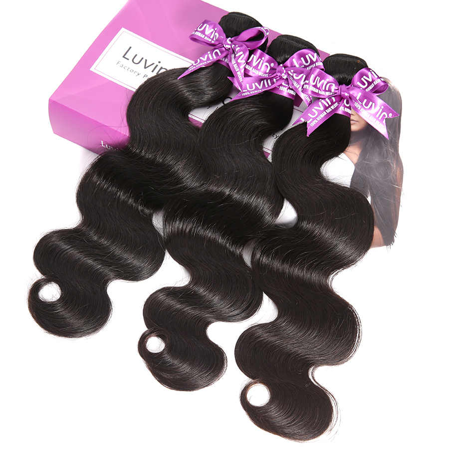 Luvin 28 30 32 34 40 Polegada tecer cabelo brasileiro 3 4 pacotes com 13x4 rendas frontal e fechamento remy onda do corpo 100% cabelo humano