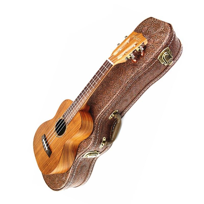 Ukulélé de haute qualité 26 ténor 4 cordes panneau supérieur de guitare hawaïenne pour bois d'acacia massif KOA Ukelele électrique avec étui EQ +