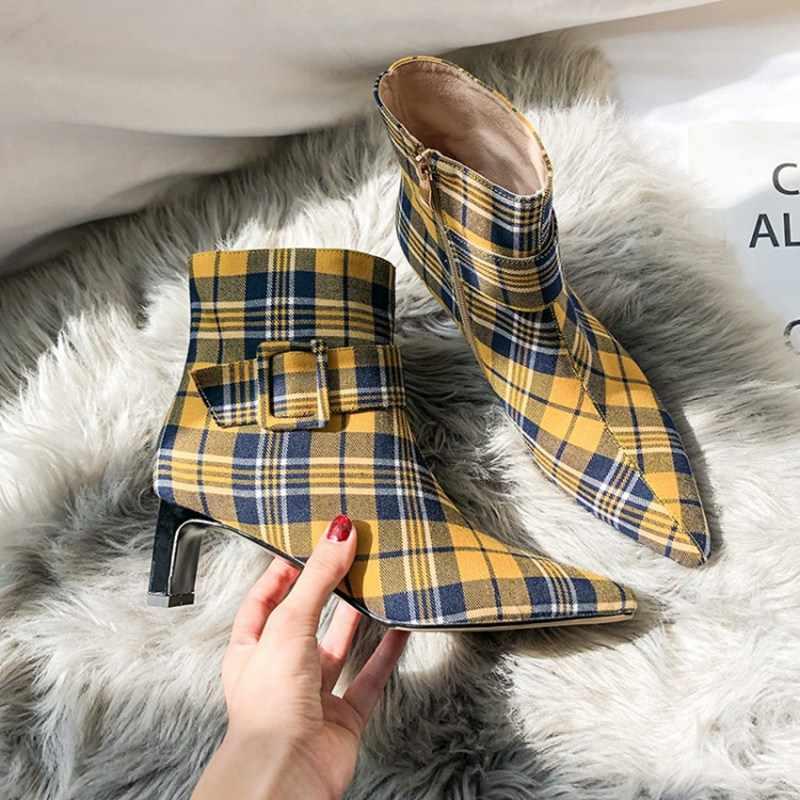 Coolcept 2020 Giày Nữ Mắt Cá Chân Giày Mũi Nhọn Khóa Kẻ Sọc Phối Màu Dây Kéo Vải Thu Đông Giày Mujer Size 33 -40