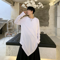 EWQ / Autumn Winter 2019 Long Sleeve Pullovers Round neck Irregular Solid Loose T shirt Man's Japan Style Personality FS975