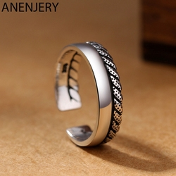 ANENJERY 925 Sterling Silver Personality Retro Jewelry Double Row High Polish Twist Rope Thai Silver Rings Opening Ring S-R552