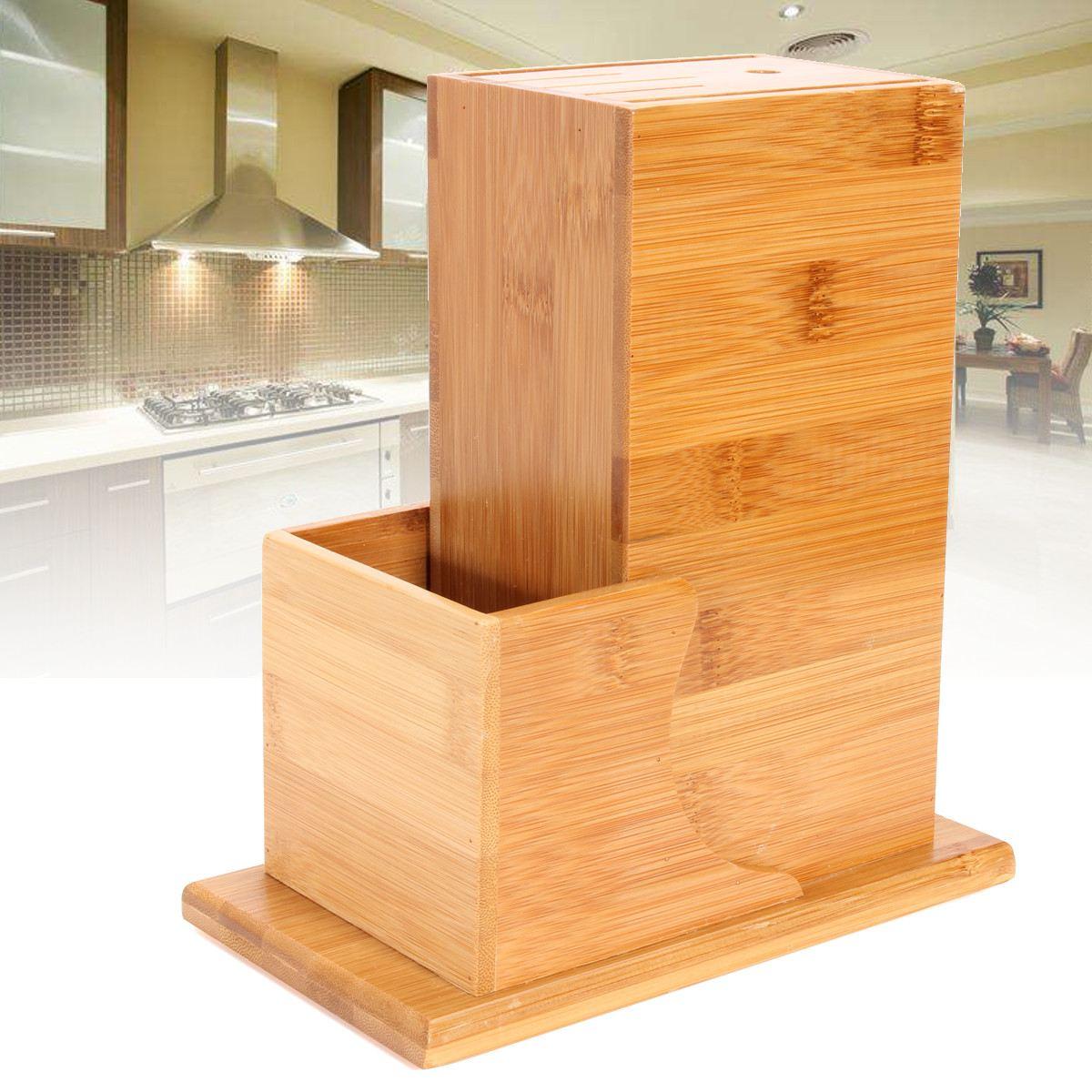 Bamboo Wood Knife Block Holder Wooden Kitchen Knife Stand Cutter Storage Rack Kitchenware Organizer Multipurpose Storage Tool