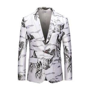 Для мужчин модные 3D горный принт «человек паук» куртка Повседневное Блейзер на одной пуговице Блейзер Пальто Куртка Топы Slim Fit Для мужчин пл...
