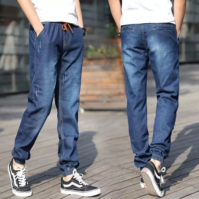Japanese-style Cone With Drawstring Trousers New Style Men Beam Leg Jeans Fashion Man Elasticity Slim Fit Pants Large Pocket