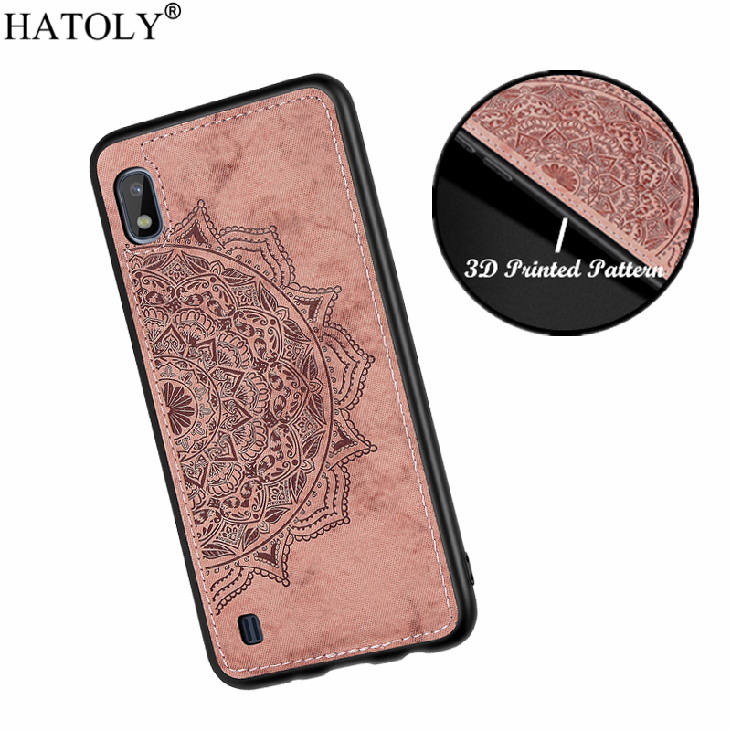 HATOLY 3D Flower Case for Samsung Galaxy A10 Case Soft Silicone Edge Fabric Hard PC Back Cover for Samsung Galaxy A10 <font><b>A105FN</b></font>/DS image
