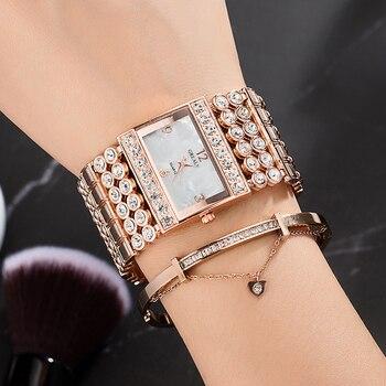 Rose Gold Watch Women And Diamond Luxury Bracelet Jewelry Set Wristwatch Exquisite Rivet Bangle Womans Watch Ladies Casual Dress