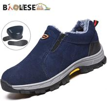 BAOLESEM Winter Work Safety Shoes Puncture Proof Boots Comfortable Leather Industrial for Men Fur