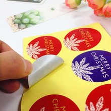 80pcs/pack Red Purple MERRY CHRISTMAS Round Christmas Party Sealing Sticker