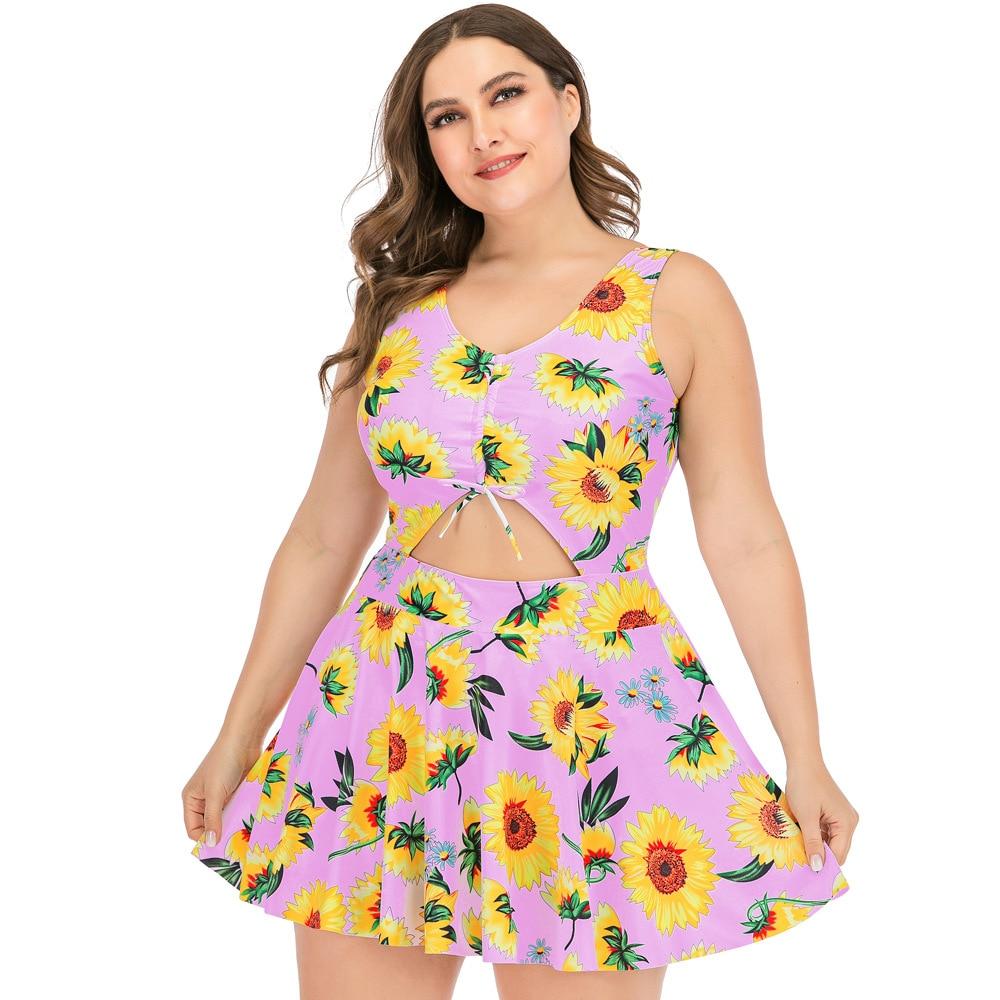 Tankini Plus Size 5XL Women One Piece Print Big Summer Swimsuit Swimming Dress Beachwear Large 3XL Bathing Suit Swimwear - swimwear