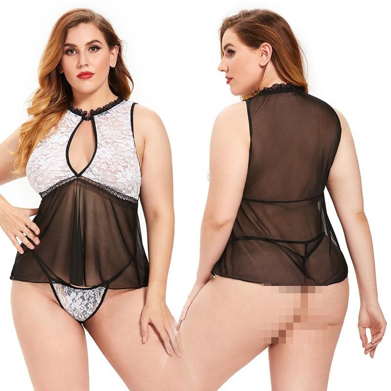 Plus Size lingerie SNuisette érotique en dentelle noire pour femmes sous-vêtements Sexy grande taille Costumes vêtements de nuit