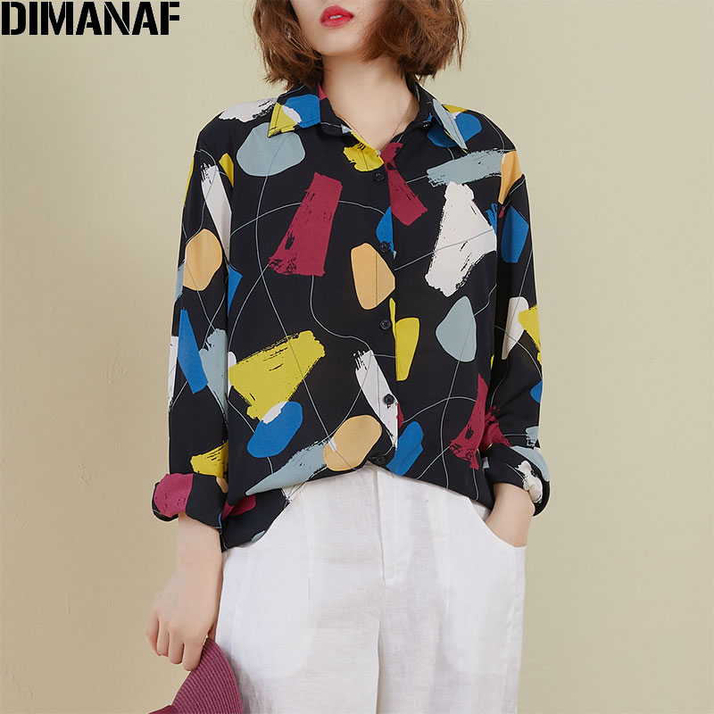 DIMANAF Spring Summer Plus Size Women Blouse Shirts Chiffon Lady Tops Tunic Casual Loose Print Long Sleeve Button Cardigan 2020