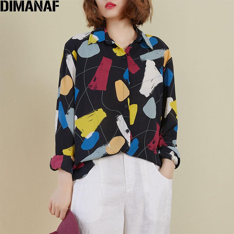 DIMANAF Spring Summer Plus Size Women Blouse Shirts Chiffon Lady Tops Tunic Casual Loose Print Long Sleeve Button Cardigan 2020