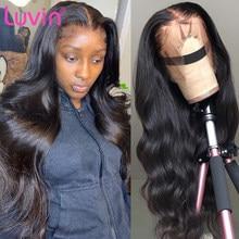 Luvin 30 32 polegada hd perucas de cabelo humano da parte dianteira do laço transparente preplucked 13x6 perucas de fechamento frontal do laço da onda do corpo brasileiro 4x4