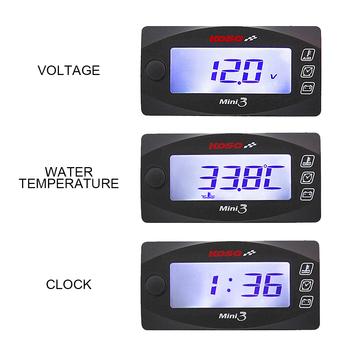 Motocykl KOSO LED wyświetlacz MINI 3 w 1 metr (termometr do wody + czas + Volt) motocykl woltomierz dla hulajnoga akcesoria tanie i dobre opinie CN (pochodzenie) LED Display MINI 3 IN 1 Meter ABS Plastic 17 5*11*4cm DC 12V -10+60 degree Water Temp+Time+Volt in 1 Meter