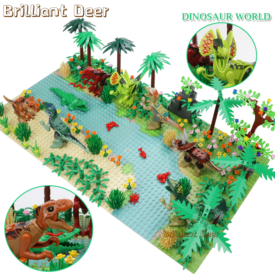 New Jurassic Dinosaur World Tree Forest Animal Action Figures Building Blocks Compatible Legoed City DIY MOC Bricks Kids Toys