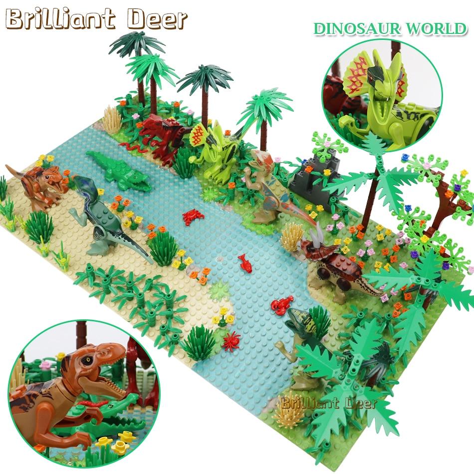 New Jurassic Dinosaur World Tree Forest Animal Action Figures Building Blocks Compatible Legoed City DIY MOC Bricks Kids Toys
