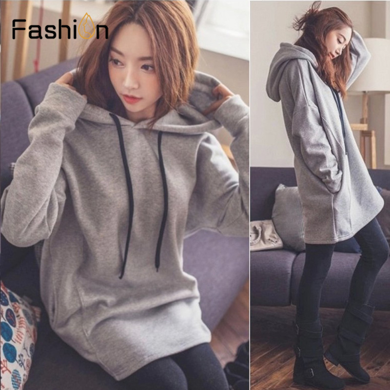 Women Long Hoodies Casual Solid Loose Drawstring Sweatshirt Long Sleeve Hooded 2019 Autumn Female Pullover Sweatshirts Harajuku