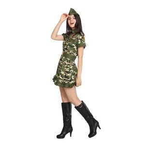 Image 2 - Ładna kobieta żołnierz armia wojownik kostium dla kobiet panieńskie nastoletnie dziewczyny Fantasia Halloween Purim sukienka na karnawał