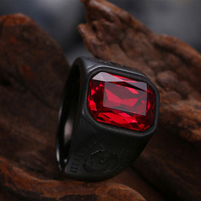 Red Black Geometry Stone Ring 6