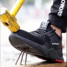 النساء والرجال الصلب اصبع القدم سلامة العمل أحذية رياضية عادية تنفس في الهواء الطلق أحذية رياضية ثقب برهان حذاء مريح