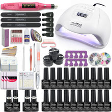 120W/80W Lampu UV Kuku Set Manicure Kit 10 & 20 Warna Gel Varnish Set Kuku mesin Bor Kit Kuku File Alat Kuku Set(China)