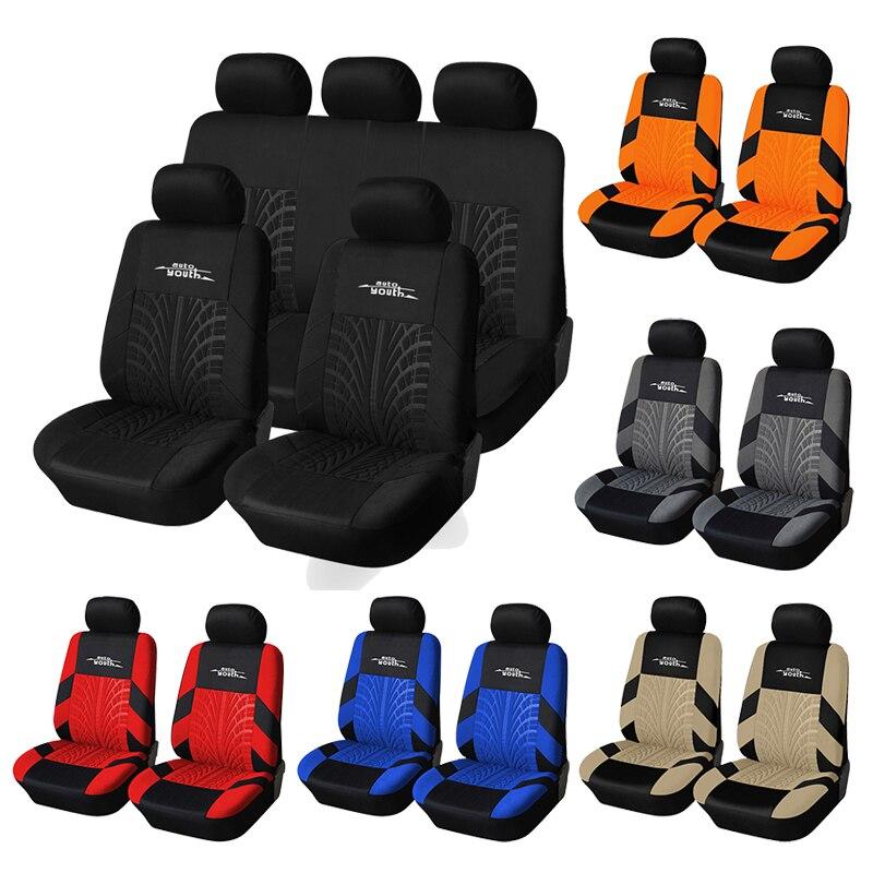 Универсальные оранжевые Чехлы для автомобильных сидений, 9 шт., Защитные чехлы для автомобильных сидений для Kalina Granta, Lada Priora, Renault Logan