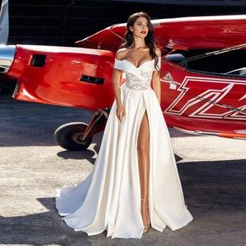 Sexy Wedding Dresses Bridal Gowns Off the Shoulder Lace Applique High Slit Satin Wedding Dress 2020 Vestidos De Novia casual off the shoulder sheath slit dress