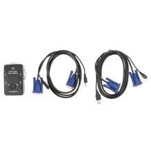 Портативный Простая установка Plug and Play 2-Порты и разъёмы USB VGA KVM переключатель коробки+ кабели для ПК Компьютер Обмен мониторная клавиатура