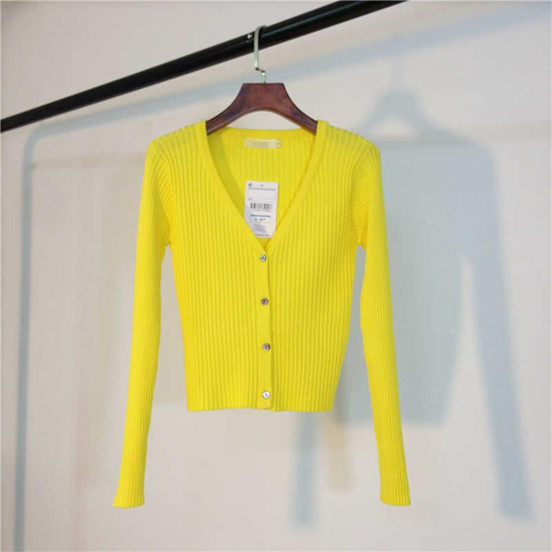 긴팔 v-목 패션 스웨터 여성 2020 봄 새로운 한국어 슬림 야생 캐주얼 짧은 싱글 카디건 스웨터 여성