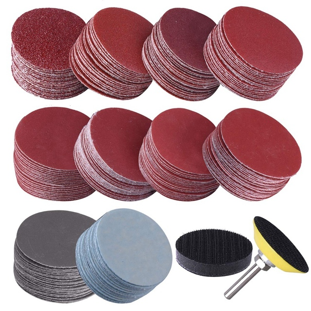200Pcs 50mm 2 Inch Sander Disc Sanding Discs 80-3000 Grit Paper with 1Inch Abrasive Polish Pad Plate + 1/4 Inch Shank for Rotary