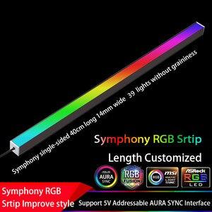 Image 3 - سيمفونية الهيكل أضواء المغناطيسي RGB قطاع 40 سنتيمتر التلوث الغلاف الجوي 5 فولت أو 12 فولت ASUS AURA مزامنة