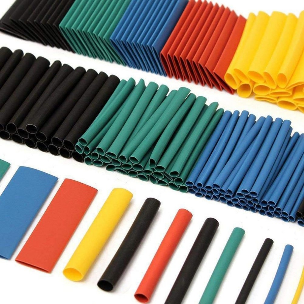 127/328/530PCS Black Shrink Tubing Environmentally Friendly Flame Retardant Shrink Tube Heat Shrinkable Tube