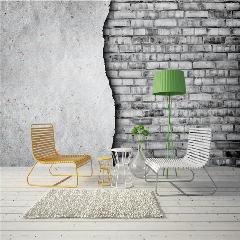 Modern Minimalistic Gray Brick Cement Wall Photo Wallpapers For Restaurant Cafe Bar Industrial Decor Wall Paper 3D Wall Murals