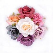 5pcs 7cm artificial flower silk rose head For wedding home decoration DIY wreath scrapbook
