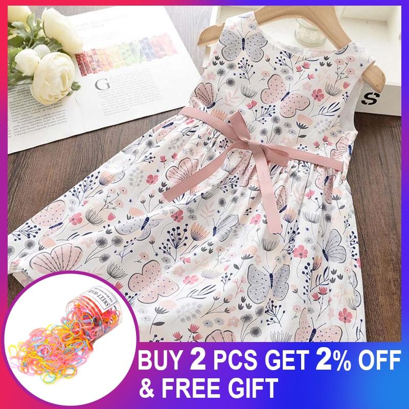 Girls Princess Floral Sweet Dress New Summer Kid Girls Sleeveless Dress Children Party Suits Butterfly Costume Children Clothing