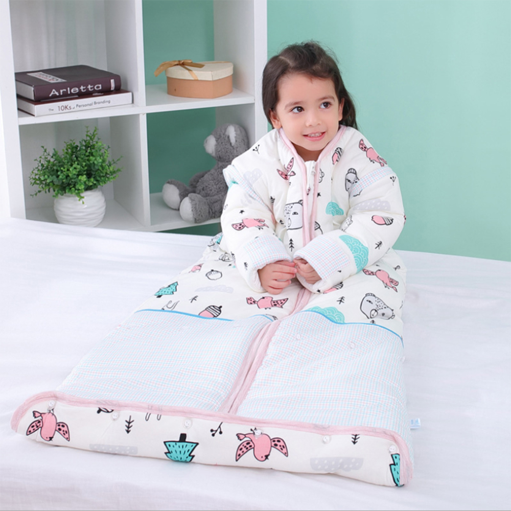 Unisex Baby Sleep Bag Wearable Blanket Cotton Sleeping Bag Long Sleeve Nest Nightgowns Thickened Winter Quilt