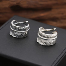 925 Sterling Silver Jewelry Men Women Vintage Feather LOVE Engagement Opening Ring Couple Ring недорого