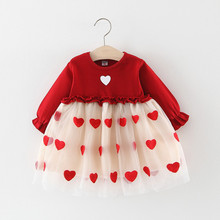 Valentine Toddler Baby Girls Love Heart Print Ruched Tulle D