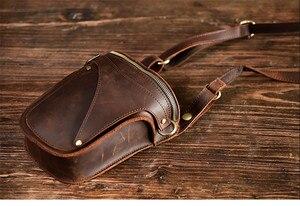 Image 5 - PNDME 정품 가죽 남성 허리 팩 빈티지 오토바이 벨트 가방 다기능 미친 말 소 가죽 매일 작은 어깨 가방
