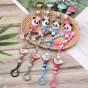 1PC New Cute Panda Silicone Baby Pacifier Clip Multicolor Rainbow Pacifier Chain For Baby Teething Soother Baby Chew Toy