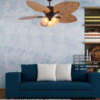 Vintage ceiilng fan lamp Retro Wood Fan Ceiling Light 5 Lights Minimalist Glass Shade Hanging fan lamp